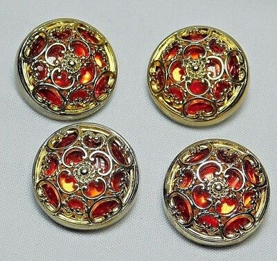 FOUR  VINTAGE RED Mirror Back Plastic BUTTONS TWINKLES! #56