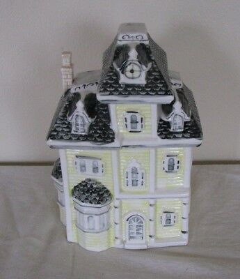 """YELLOW VICTORIAN HOUSE Multi Story with Raised Roof 10"""" Large Ceramic Cookie Jar"""