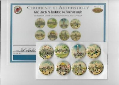 Vintage Pinback Button Lot 8 1901 Pan American Exposition From Hakes CPB Book