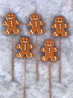 """9"""" Xmas Gingerbread Picks Floral Supply Wreath Arrangement Gift Fake Candy Decor"""