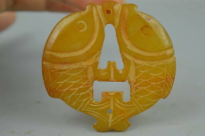 China Style Collectible Yellow Jade Carve Double Fish Amulet Woman Pendant Gift