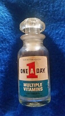 Vintage ONE A DAY Multiple Vitamins 100 Ct Glass Bottle Miles LAB. ELKHART IN