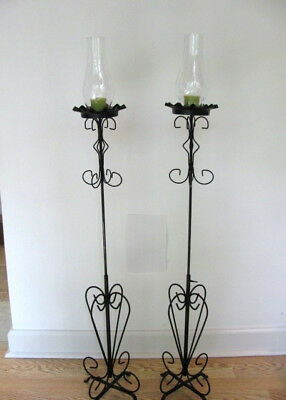 PAIR Vintage Adjustable Height Floor Candle Stands - Candelabras - Wrought Iron