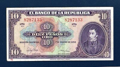Colombia 10 pesos 1950  Serie EE  Very Fine  P389  ABNC 8287133