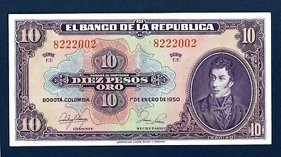 Colombia 10 pesos 1950  Serie EE  AU Condition  P389  ABNC 8222002