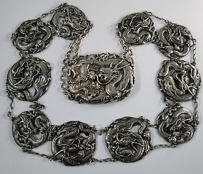 Antique Chinese Export Sterling Silver DRAGON Belt *Amazing Detail* 200grams