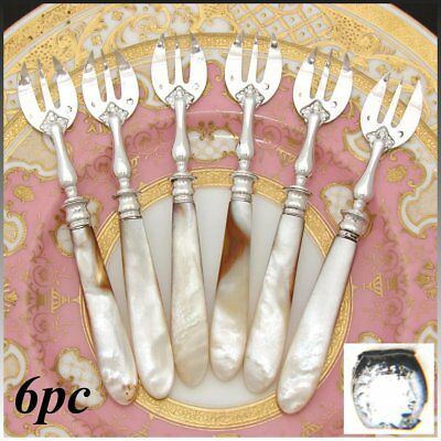 Elegant Antique French Mother of Pearl & Silver 6pc Shellfish or Oyster Fork Set