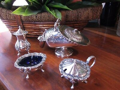 Vintage Old Sheffield SP Condiment set Sugar Scuttle with Scoop