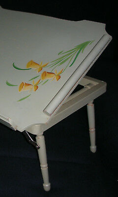 VTG BOHO COUNTRY WOOD BED/READING Green TRAY FLOWERS CHIC collapsible adjustable