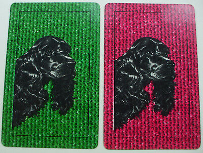 2 Single Vintage Swap Playing Cards/blank backs Dog Heads Black Spaniels
