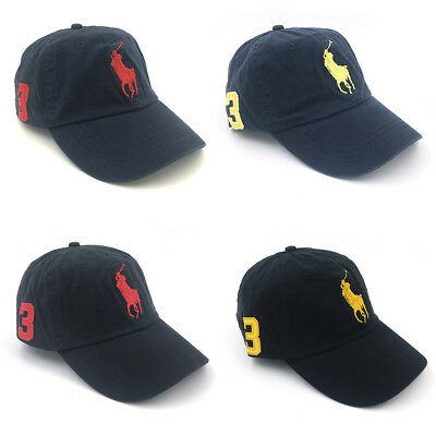 Polo Baseball Cap With Fine Embroidery 3 Big Pony Logo Adjustable Men's Hat  New