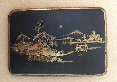 Japanese Cigarette Case Curved Black Metal Case with Gold Scenes