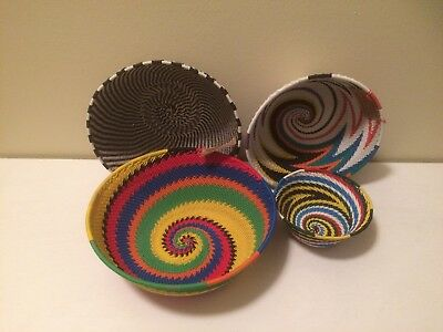 Lot Of 4 South African Handmade Telephone Wire Baskets
