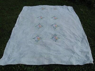 "Vtg Chenille Mint Green / Yellow Pink White Flowers 74"" x 102"" Cutter or Repair"