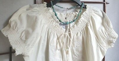 Caribbean Joe New w/Tags Embroidered Smocked Blouse, Sz: M. Ivory Beige. Cotton.