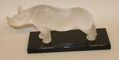 Large Lalique France Frosted Crystal Rhinoceros Toba Rhino on Black Glass Base