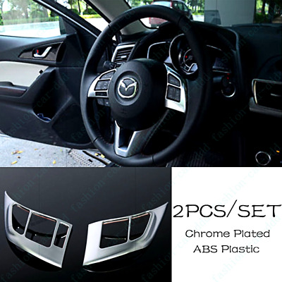 ABS Car Steering Wheel Cover Panel Badge Insert Trim Garnish For Mazda 3 2014-16