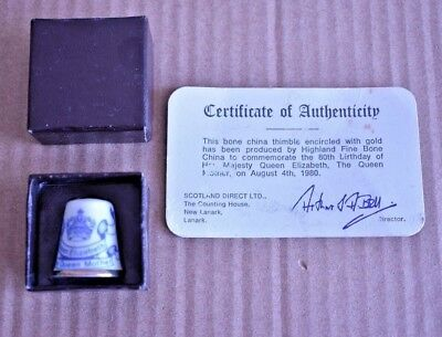 Boxed 1980 Queens 80th Birthday Scottish Thimble