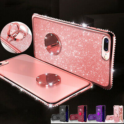 Luxury Bling Glitter Diamond Bumper Ring Stand Case Cover for iPhone X 7 8 Plus