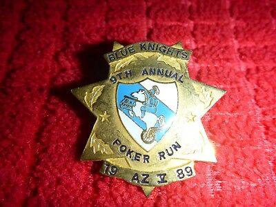 Vintage Blue Knights Police Motorcycle Riding Club Gold Badge poker run 1989 az