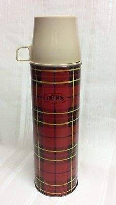 Vintage Thermos/King Seeley PLaid/Tartan Thermos/Glass Liner,QUART,Hold/Cold/RED