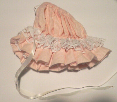 Vintage Baby Bonnet White Lace Ribbon Coral Pink Old Fashioned Girl Reborn NB-3