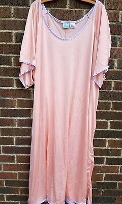 VTG Lane Bryant Women's Plus  4x Peach Lavender Long Nightgown Sleepwear Kimono