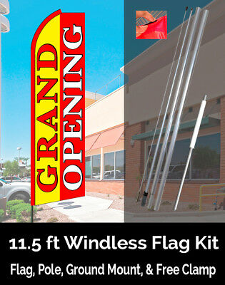 GRAND OPENING (Yellow/Red) Flutter Feather Banner Flag Kit (Flag, Pole, & Mount)
