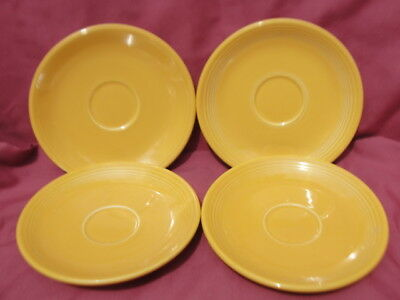 FOUR (4) Vintage FIESTA China - YELLOW DEMITASSE SAUCERS