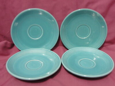 FOUR (4) Vintage FIESTA China - TURQUOISE DEMITASSE SAUCERS
