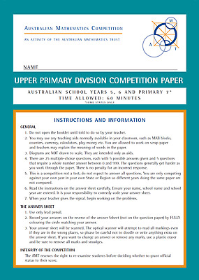 Australian mathematics competition past papers AMC Upper Primary 2018 Year 5 & 6