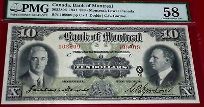 Bank Of Montreal 1931  $10  Pmg Graded Au 58