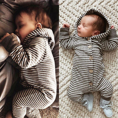 UK Newborn Baby Girl Boy Striped Hooded Romper Jumpsuit Bodysuit Outfits Clothes