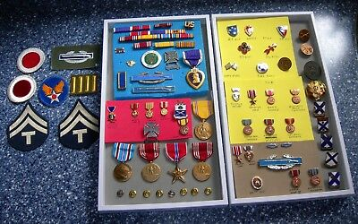 Huge Lot Of World War 2 WWII Military Pins Medals Purple Heart Patches