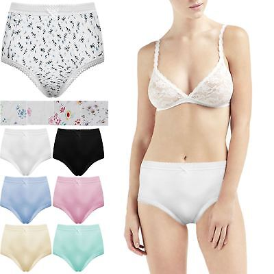 6 PACK LADIES FLORAL TUNNEL ELASTIC COTTON MAXI BRIEF MAMA KNICKERS PANTS  10-34