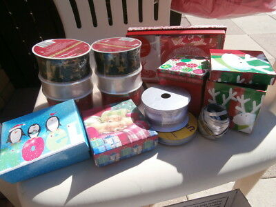 Assorted Christmas Ribbons, Gift Boxes And Royal Doulton Christmas Cards & Tags