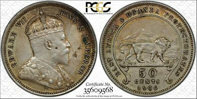 British East Africa, 1906 Edward VII Fifty Cents, 50 Cents. PCGS AU 50.