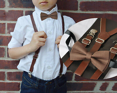 Kids Boys Brown Cotton Bow tie + Brown Leather Suspenders Braces Wedding Set