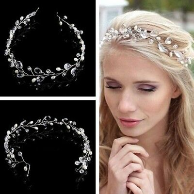 Bridal Accessories Prom Party Pearl Crystal Flower Hair Band Headband DJ8
