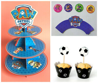 Cartoon 3-Tier Paper Cup Cake Stand Holder / 12Pcs Cup Cake Wrapper & Topper Set