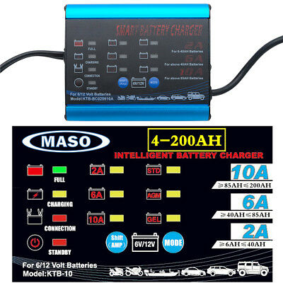 Smart Battery Charger 2A 6A 10A 12V/6V Automatic 7 stages SLA Car 4WD 4-200AH AU