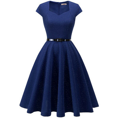 Women's Vintage Evening Party Cap Sleeve Rockabilly 1950s Retro Dress with Belt