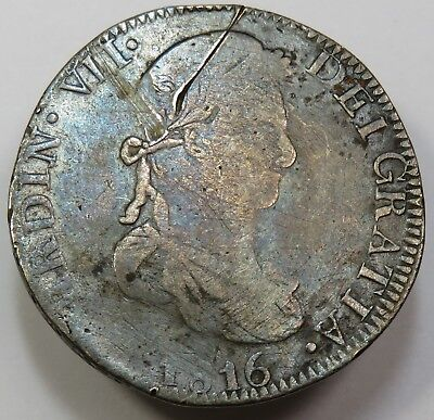 1816 8 Reales 8R Zacatecas ZS AG Pillars Mexico Fernando VII Silver World #18894