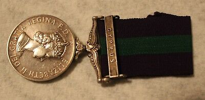 British English General Service Medal with Cyprus Bar Named to Russll RAF