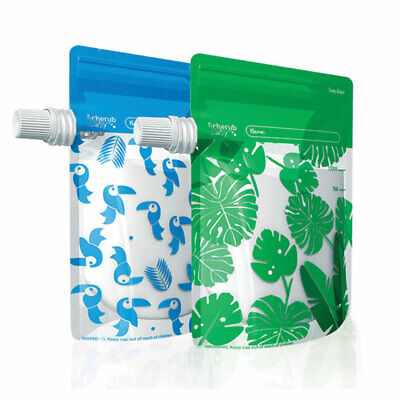 Cherub Baby On the Go Baby Food Pouches Blue & Green 10 Pack