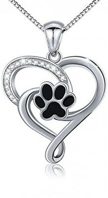 ATHENAA S925 Sterling Silver Puppy Dog Cat Pet Paw Print Love Heart Pendant 18