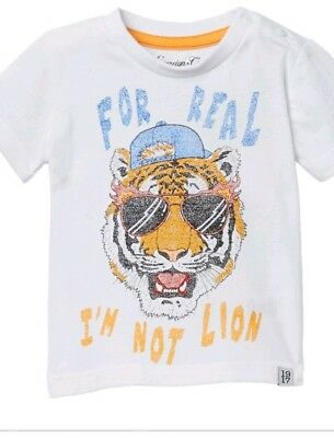 NWT Sovereign Code LA Wild Child White Graphic Tee Tiger Print Boys 24 Month