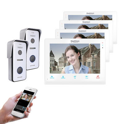 TMEZON Wireless Video Door Phone IP Doorbell LCD Wifi Intercom System 4x Monitor