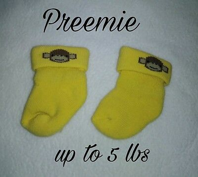 NWOT Preemie girl or boy Yellow with monkey face socks adorable reborn.