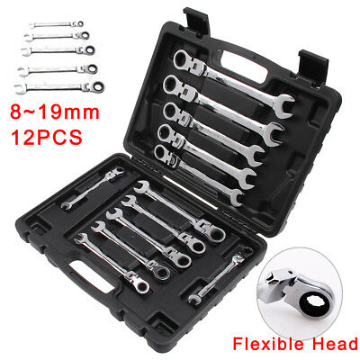 Professional 12pc Combination Spanners Flexible Ratchet Wrench Tool Set 8-19mm
